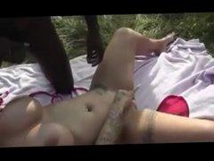 slut with big fake tits fucks many strangers outdoors