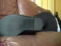 Caroline black flats off stocking feet fondle preview