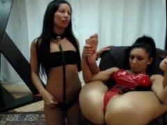 Lesbian BDSM show bodies