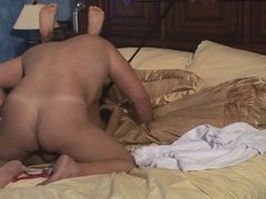 Dude licks Asian babe's wet cunt in bed
