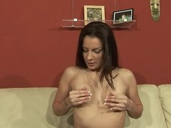 Horny brunette masturbates in front of stud before fucking