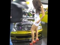 Asian model hot whie miniskirt upskirt no panties