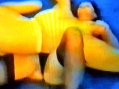 2 babes wrestle in stockings