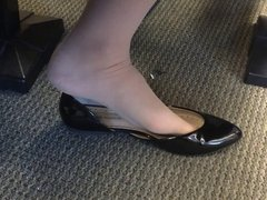 Candid US College Teen Shoeplay Feet Dangling in Nylons PT 5
