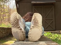 Stacy well worn Reebok sneakers sole shoeplay full vid