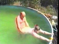 Grandpa fucks in the pool