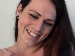Tall brunette tranny masturbating her big cock