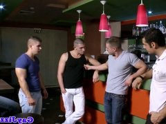 Muscular gay hunk facialized at bj orgy