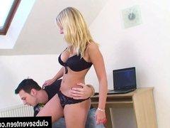 Busty blonde teen Marry suck cock