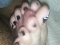 Homemade closeup footjob