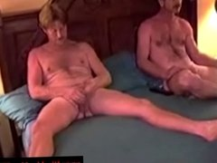Lubed up old grandads try a little anal