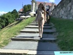 Sweet babe Enni shows her naked sexy body in public