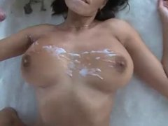 Hot woman jerks the whole load on her tits