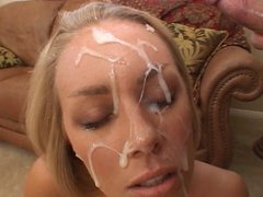 Cute Blonde gets a huge facial