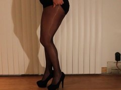 Grey Pantyhose Platino Cleancut and tight miniskirt