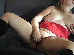 Chubby busty blonde with glasses toying and dirty talk