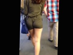 Candid girl in tight shorts