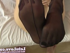 Wrapping my lips then my stockings feet around your cock