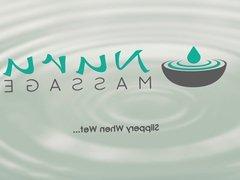 NuruMassage Asian Masseuse Gives Oily Cock Massage with Puss