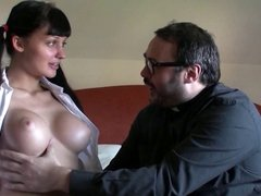 PUTA LOCURA Old horny priest fucking a slutty schoolgirl