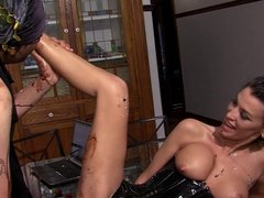 Mistress makes Arab slave into eating fruit off her body