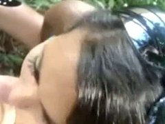 Cute girl sucks hard cock outdoors