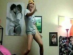 Sexy college girl dances
