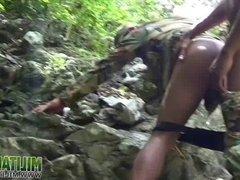 Uniformed soldiers having outdoor anal