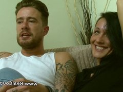 Pornstar couple chat to the cameraman