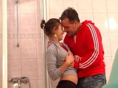Skinny german girl fucked in the bathroom