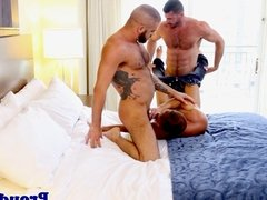 Muscular gay group sex with big dudes