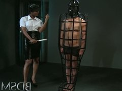 BDSM XXX Caged sub signs his body mind into his Mistresses