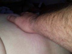 rubbing the bbw wifes hairy bush & ripe nipple