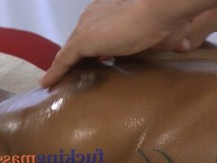 Massage Rooms Big natural tits oiled up before girls fucked