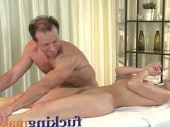 Massage Rooms Young masseuse gets oiled before cock