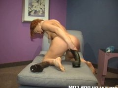 Nyana swallowing two brutal dildos with her tight pussy