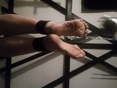 Torturing my slaves feet with a mace ball!!