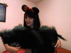 hot girl in cosplays in front of webcam