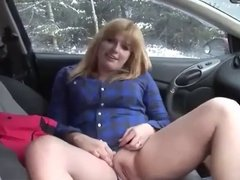 Girl Plays and Squirts in the Car