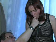 OldNanny Sexy young Girl playing with old man and mature