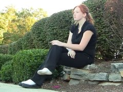 Star smoking outside with shoeplay sockplay preview