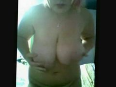 Fat Chubby Blonde GF Playing with her big tits and wet pussy