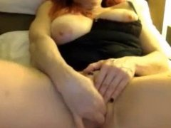Redhead Milf with tits out, fingers her pussy (NS)