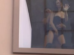 Brunette anal fucked in front of window