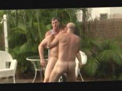 poolside wrestling threesome