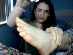 Scarlett's oily feet