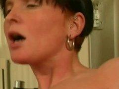 Tattooed German Slut Toys Her Shaven Slit