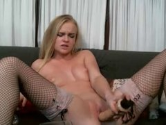 Blonde plays with pussy