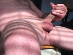 Stroking my hard cock