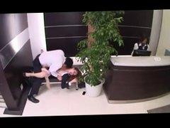 Office lady seduced in foyer